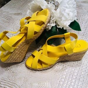 Shoes - New 💛💛CHAPS YELLOW WEDGE ESPADRILLES💛💛